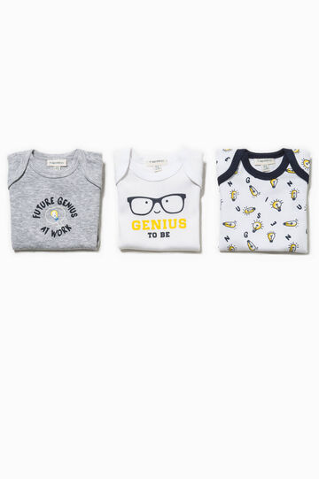 Three-pack printed and contrasting patterned bodysuits, White/Grey, hi-res