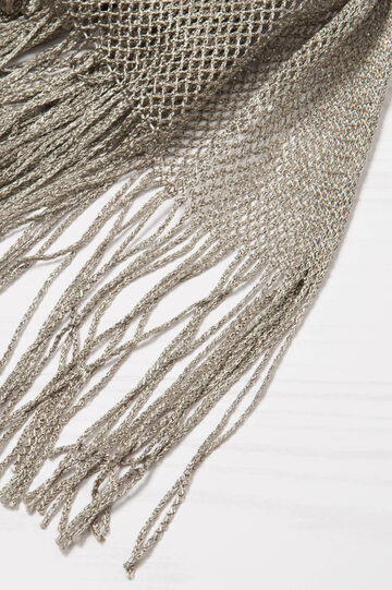 Viscose scarf with lurex fringing, Grey, hi-res