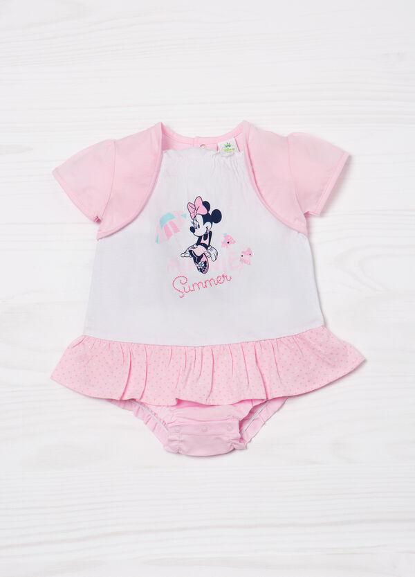 Minnie Mouse cotton print romper suit. | OVS