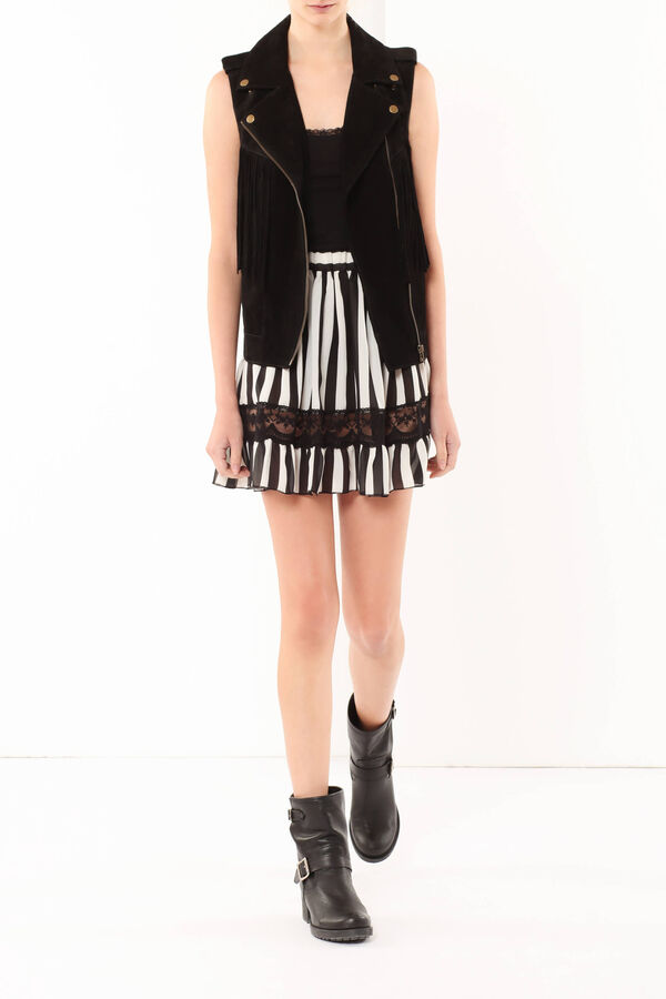 Leather vest with fringes | OVS