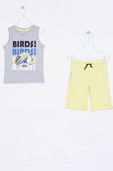 100% cotton outfit with drawstring, Yellow, hi-res