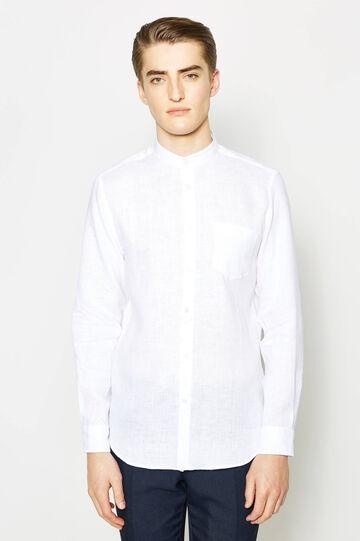 Camicia casual colletto alla coreana, Bianco, hi-res