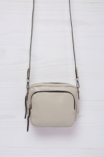 Leather look shoulder bag, Light Grey, hi-res