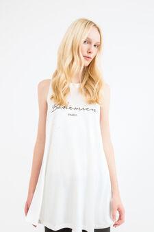 Viscose blend long vest top, Milky White, hi-res