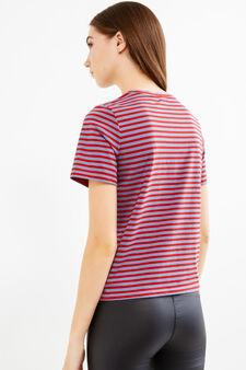 Striped T-shirt with tiger print, Blue/Red, hi-res