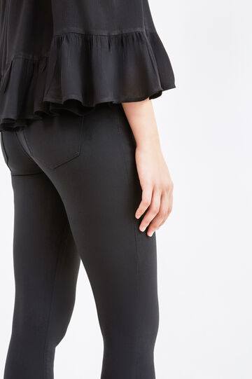 Solid colour stretch rayon jeans, Black, hi-res