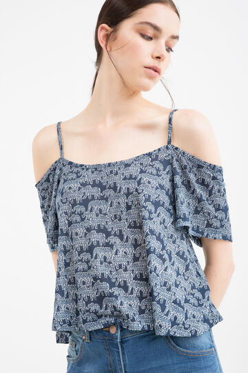 100% viscose top with pattern, Blue, hi-res