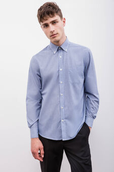 Slim-fit formal shirt with regular micro-check pattern, White/Blue, hi-res