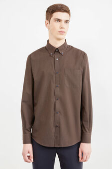 Regular-fit check formal shirt, Brown, hi-res