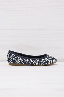 Patterned ballerina flats with round toe, Blue, hi-res