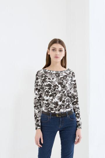 100% cotton floral T-shirt, White/Black, hi-res