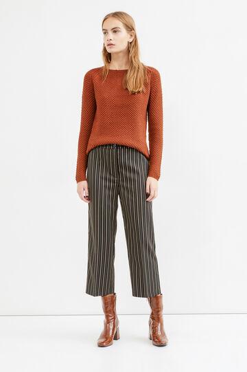 Stretch striped viscose crop trousers, Multicolour, hi-res