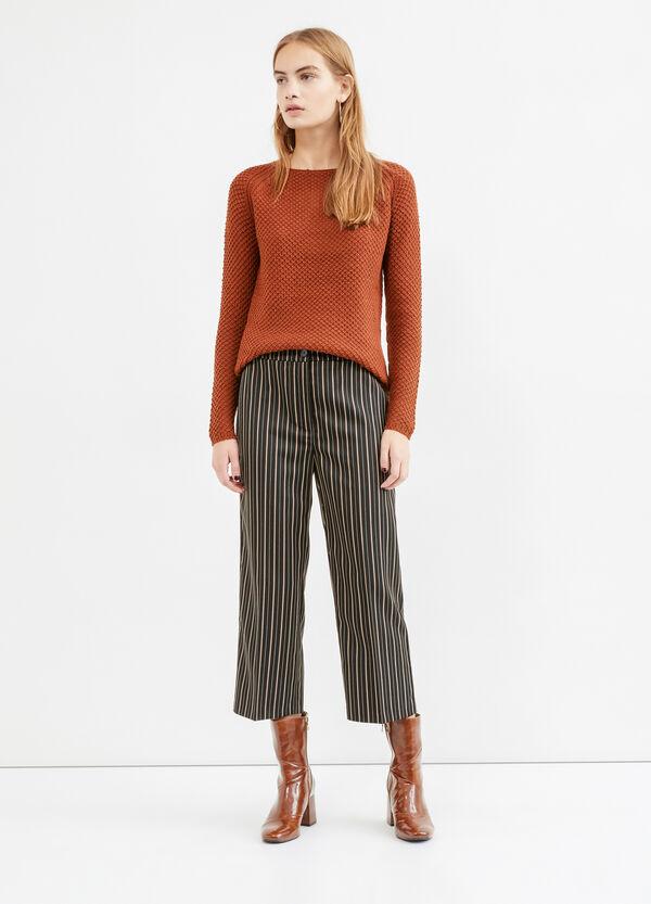 Stretch striped viscose crop trousers   OVS