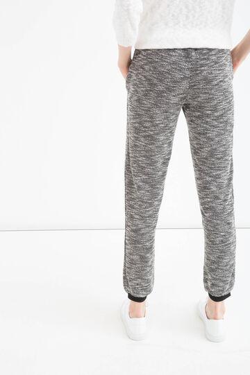 Cotton blend joggers with drawstring, Black, hi-res