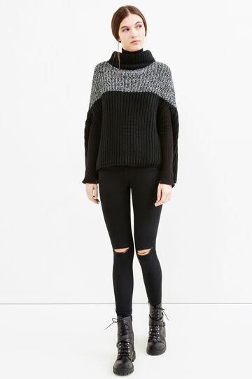 Cable knit poncho with high neck, Black, hi-res