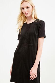 Short-sleeved suede-effect dress, Black, hi-res