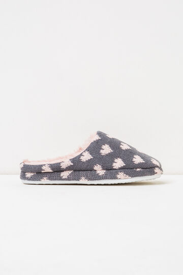 Slippers with heart pattern, Grey/Pink, hi-res