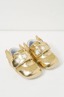 Side-winged polished sneakers, Golden Yellow, hi-res