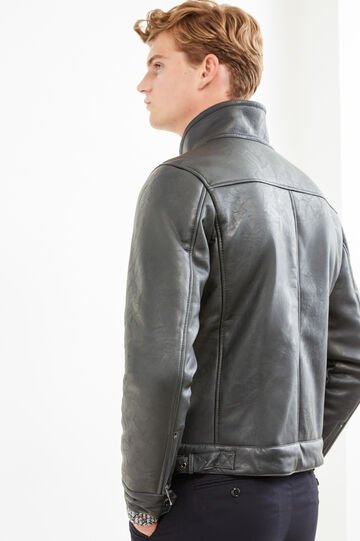 Solid colour leather look jacket., Smoke Grey, hi-res