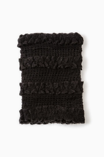 Solid colour knitted neck warmer, Black, hi-res