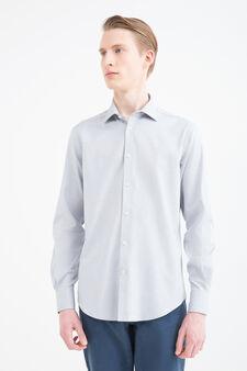 Slim-fit patterned cotton shirt, Grey, hi-res
