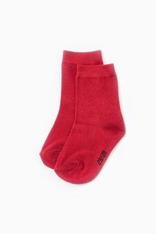 Five-pair pack solid stretch socks, Red, hi-res