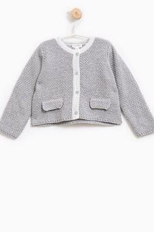 Knitted pullover with faux pockets, Grey Marl, hi-res