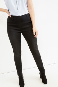 Curvy stretch cotton jeggings, Black, hi-res