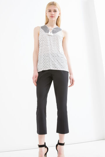 Round neck top with ties and tassels, Black/White, hi-res