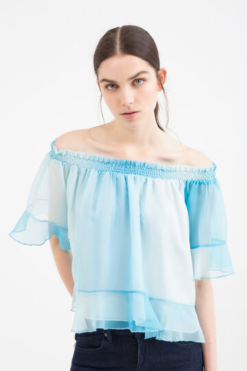 Blouse with flounces, Blue, hi-res