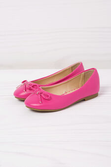 Leather look ballerina flats, Pink, hi-res