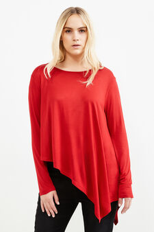 Curvy T-shirt with asymmetric hem, Red, hi-res