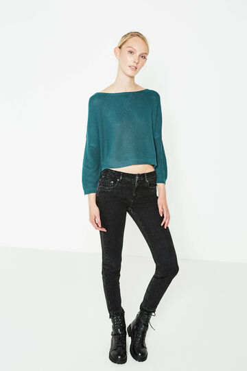 Crop pullover with batwing sleeves, Teal Green, hi-res