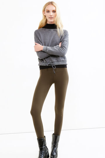 Solid colour stretch cotton leggings, Army Green, hi-res