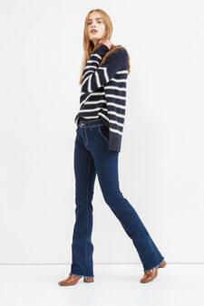 Stretch bootcut jeans with fringed hem, Dark Blue, hi-res