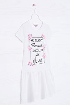 Printed dress in 100% cotton, White, hi-res