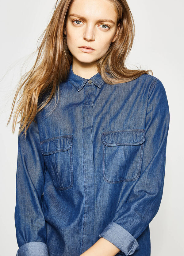 Denim shirt with rounded hem | OVS