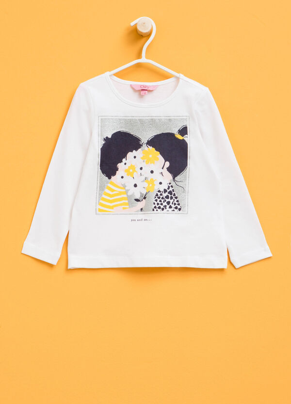 T-shirt stampata con glitter   OVS