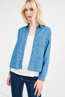 Denim shirt with pocket, Medium Wash, hi-res
