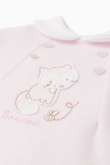 Onesie with feet and patch, Pink, hi-res