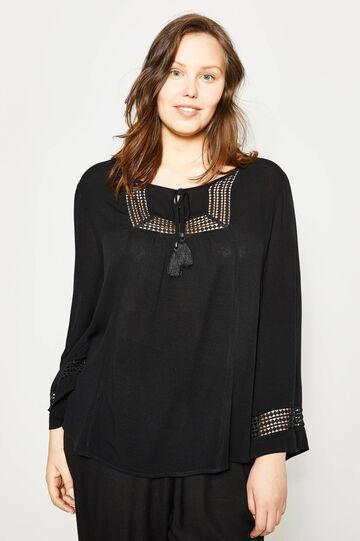 Curvy openwork blouse with tassels, Black, hi-res