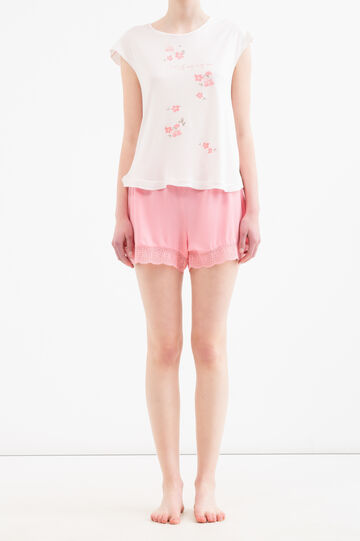 Pyjama shorts in 100% viscose and lace, Coral Pink, hi-res