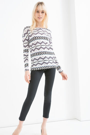 Stretch viscose sweatshirt with print, Black, hi-res