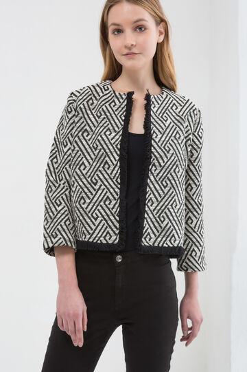 Stretch jacket with geometric pattern, Black/White, hi-res
