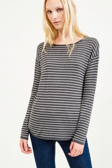 Pullover tricot misto cotone a righe, Grigio, hi-res