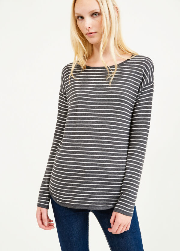 Knitted striped cotton blend pullover   OVS