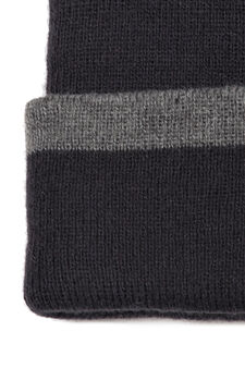 Beanie cap with turn-up brim in contrasting colour, Navy Blue, hi-res