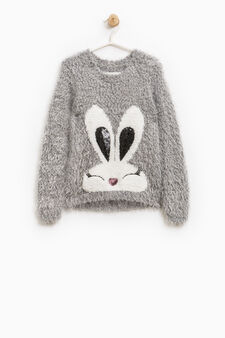 Solid colour pullover with embroidery and sequins, Grey, hi-res