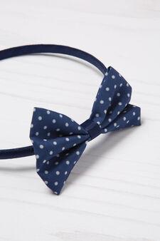 Hair band with polka dot bow, Denim, hi-res