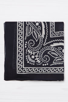 Printed scarf in 100% cotton, Blue, hi-res